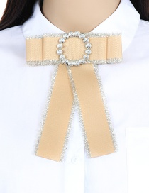 Fashion Khaki Circular Ring Decorated Bowknot Brooch