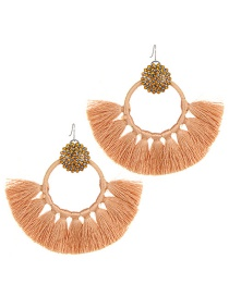 Fashion Champagne Pure Color Design Tassel Earrings
