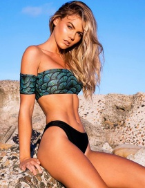 Sexy Black Scale Pattern Decorated Off-the-shoulder Swimwear
