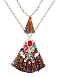 Fashion Multi-color Geometric Shape Decorated Necklace