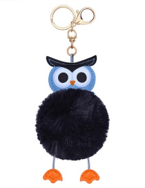 Fashion Black Owl Shape Decorated Keychain