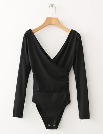 Sexy Black V-neckline Decorated Jumpsuits