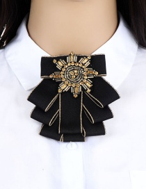 Fashion Black Round Shape Decorated Brooch