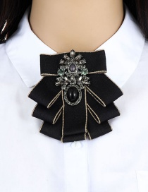 Fashion Black Oval Shape Decorated Brooch