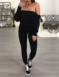 Fashion Black Off-the-shoulder Decorated Jumpsuits