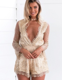 Sexy Champagne V-neckline Decorated Jumpsuits