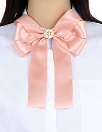 Elegant Pink Round Shape Decorated Bowknot Brooch
