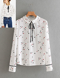 Elegant White Heart Shape Decorated Shirt