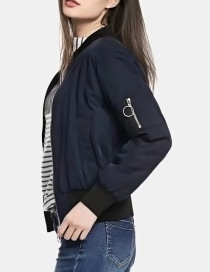 Fashion Navy Pure Color Decorated Jacket
