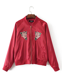 Fashion Red Embroidery Flower Shape Decorated Shirt