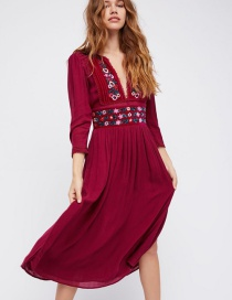 Elegant Red V-neckline Decorated Dress