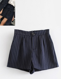 Fashion Navy Strip Shape Decorated Shorts