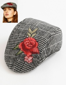 Fashion Gray Flower Pattern Decorated Hat