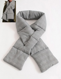 Fashion Gray Grid Shape Decorated Scarf