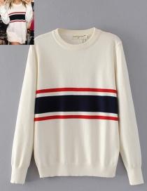 Fashion White Stripe Decorated Blouse