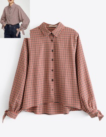 Fashion Red Grid Shape Decorated Shirt