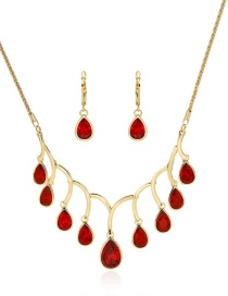Fashion Gold Color+red Waterdrop Shape Decortaed Jewelry Sets(2pcs)