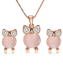 Fashion Rose Gold Owl Shape Decorated Jewelry Sets(2pcs)