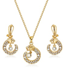 Fashion Gold Color Leopard Head Shape Decoratd Jewelry Sets(2pcs)