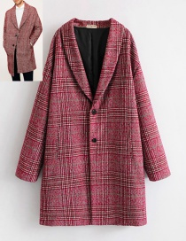 Fashion Plum Red Grid Pattern Decorated Coat