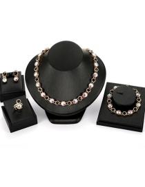 Fashion Multi-color Round Shape Decorated Jewelry Sets(4pcs)