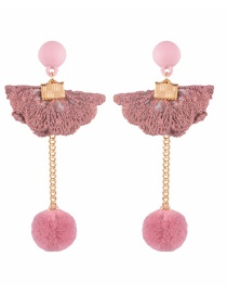 Vintage Pink Sector Shape Decorated Pom Earrings