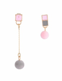 Fashion Pink Square Shape Decorated Pom Earrings