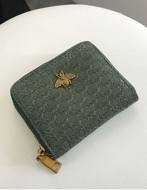 Fashion Green Metal Bee Decorated Wallet