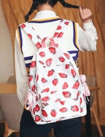 Fashion Pink Strawberry Shape Decorated Backpack