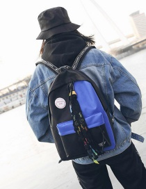 Fashion Blue+black Color-matching Decorated Backpack