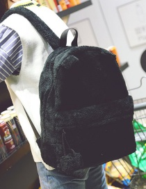 Lovely Black Pure Color Decorated Backpack