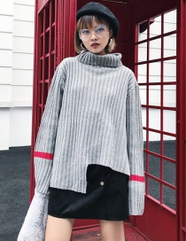 Fashion Gray Color Matching Decorated Sweater