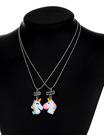 Fashion White Unicorn Shape Decorated Necklace ( 2 Pcs )