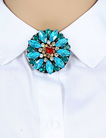Fashion Blue Oval Shape Decorated Brooch