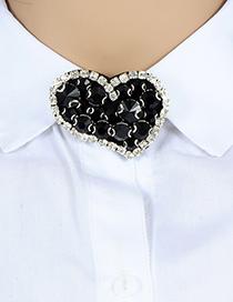 Fashion Black Heart Shape Decorated Brooch