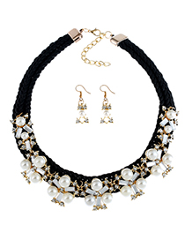 Fashion Black Pearl Decorated Jewelry Set