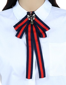 Fashion Blue+red Stripe Pattern Decorated Bowknot Brooch