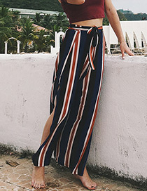 Fashion Navy+brown Stripe Pattern Decorated Trousers