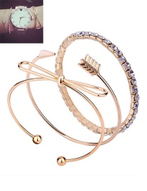 Fashion Gold Color Bowknot&arrow Shape Decorated Bracelet (3 Pcs )