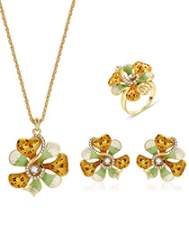 Fashion Gold Color+green Flowers Design Color Matching Jewelry Sets