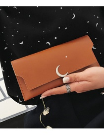 Fashion Brown Moon Shape Decorated Wallet