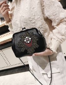 Fashion Black Diamond Decorated Shell Shape Shoulder Bag