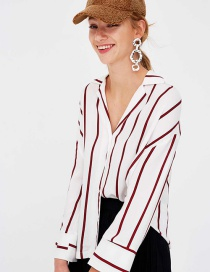 Fashion White Stripe Pattern Decorated Long Sleeves Shirt