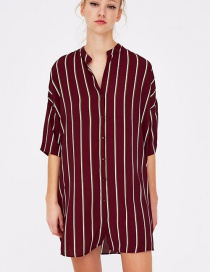 Fashion Red Stripe Pattern Decorated Long Sleeves Dress