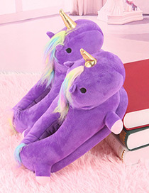 Fashion Purple Unicorn Shape Decorated Shoes