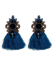 Fashion Navy Water Drop Shape Decorated Earrings