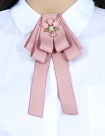 Fashion Pink Flower Shape Decorated Bowknot Brooch