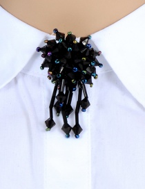 Fashion Black Beads Decorated Flower Shape Brooch