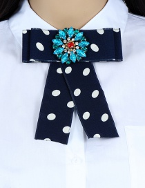 Fashion Navy Dot Pattern Decorated Bowknot Brooch