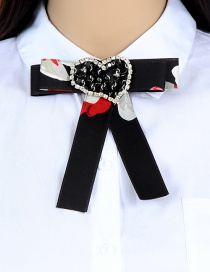 Fashion Black Heart Shape Decorated Bowknot Brooch